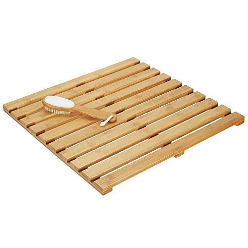mDesign Alfombra de bambú – Alfombrilla de baño rectangular de bambú ecológico – Accesorio de baño y ducha con estética de spa – color bambú