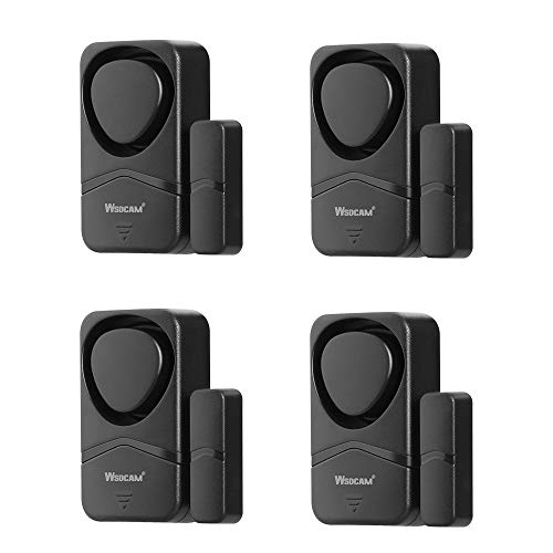Wsdcam Window and Door Alarms for Home Security, 110dB Magnetic Sensor Alarm, Pool Door Alarm for Kids Safety, 4-in-1 Mode Small Wireless Window Alarms 4 Pack - Black