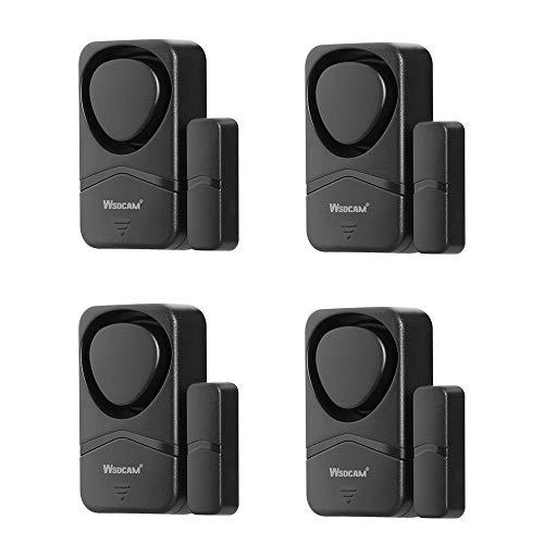 Wsdcam Fenster- und Türalarme für die Sicherheit zu Hause, 110 dB, magnetischer Sensor-Alarm, Pool-Tür-Alarm für Kindersicherheit, 4-in-1-Modus, klein, kabellos, Fensteralarm, 4 Stück, schwarz