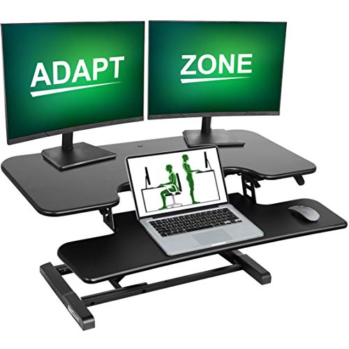 ADAPTZONE Pro Plus Standing Desk Converter, 38 Inch Sit Stand Up Desk Riser, Height Adjustable Sit Stand Desk Converter, Tabletop Stand Up Desk Workstation, fits Dual Monitor and Laptop