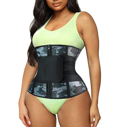 TrainingGirl Women Waist Trainer Cincher Belt Tummy Control Sweat Girdle Workout Slim Belly Band for Weight Loss (Camo, Medium)
