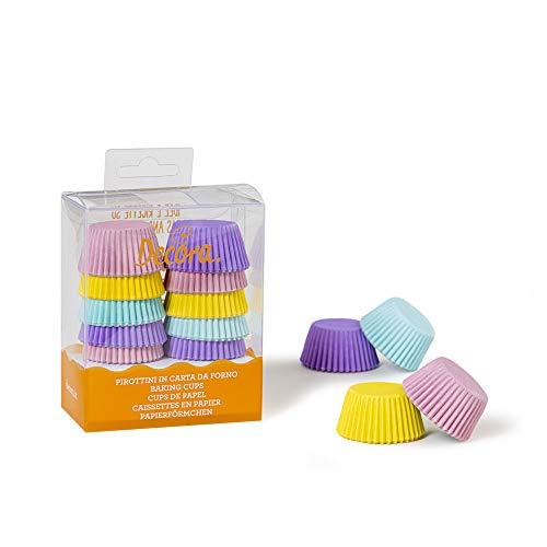 Decora 0339744 Paquet 200 CAISSETTES Mini Muffin Pastel 32 X 22 MM, Paper, Multicolore, 30 x 3,2 x 2,2 cm