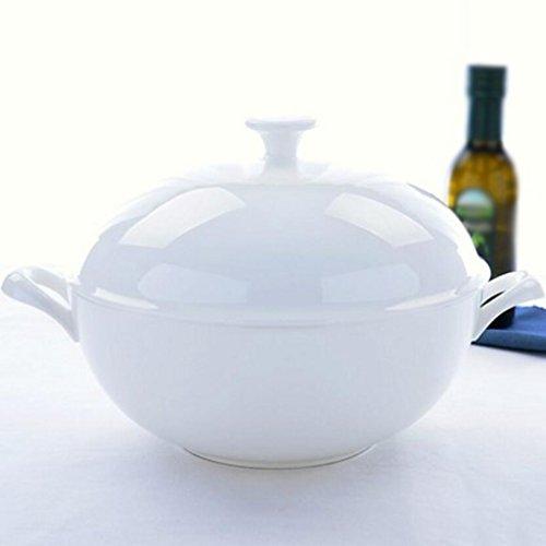 Liuyu Kitchen Home Large avec couvercle Soupe Bols Bol de soupe Sauerkraut bouillie Vaisselle en céramique Soup Pot Home (Couleur : A)