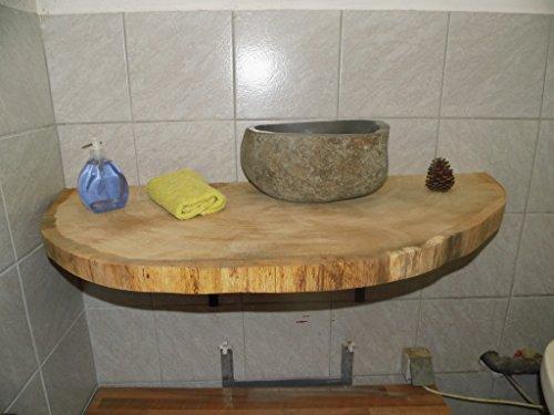 KJR Holzmanufaktur Waschtischplatte, Baumscheibe, ca. 110 x 50 x 6 cm, Waschtisch, geschliffen,Eiche