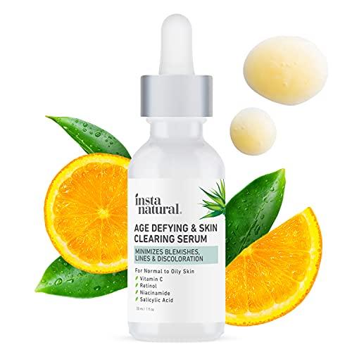 InstaNatural Vitamin C Anti Aging Skin Clearing Serum - Wrinkle, Fine Line, Pigmentation, Pore Minimizer & Dark Spot Corrector for Face - Retinol, Hyaluronic, & Salicylic Acid - 1oz