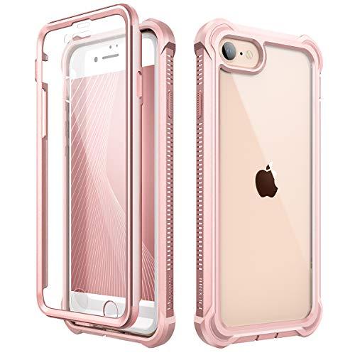 Dexnor Kompatibel mit iPhone SE 2020 hülle/iPhone 8/7 hülle (4.7''), 360-Grad-Ganzkörper Schutzhülle gegen Stöße (Release 2020) mit eingebauter Displayschutzfolie - Rosa