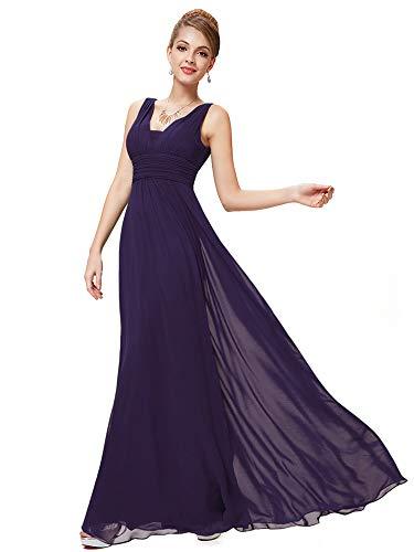 Ever-Pretty Escote en V Vestido de Fiesta Noche Largo para Mujer Corte Imperio Morado Oscuro 54
