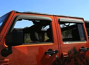 Rugged Ridge 11349.12 Matte Black Window Visor for 2007-2018 Jeep Wrangler JK, 4-Door, Pack of 4