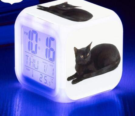 shiyueNB Pantalla de Gato Lindo Reloj LCD Temperatura/Calendario Pantalla de Gato Lindo Reloj Despertador LED Reloj de Juguete para niños Pantalla Digital LED Azul