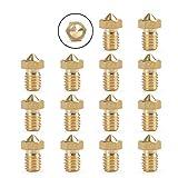 YOTINO 14 Unids Extrusora de Hilo de Rosca M6 de Latón para Impresora 3D 0.2mm / 0.3mm / 0.4mm / 0.5mm / 0.6mm / 0.8mm / 1.0mm