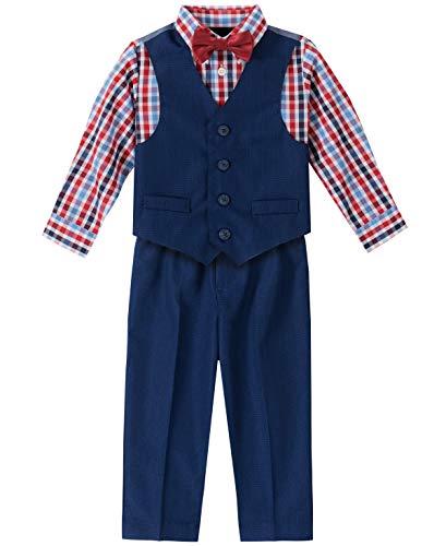 Nautica - Conjunto de chaleco de 4 piezas con camisa de vestir, pajarita y pantalones - Azul - 24 meses