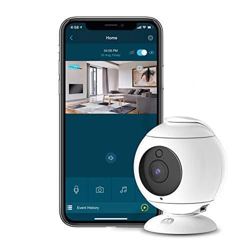 Motorola Focus 89 - Cámara de Seguridad inalámbrico interior Full HD1080p, Vigilancia WIFI, 360°, Audio Bidireccional, Detección de Movimiento, Visión Nocturna, Alexa comp., Blanco