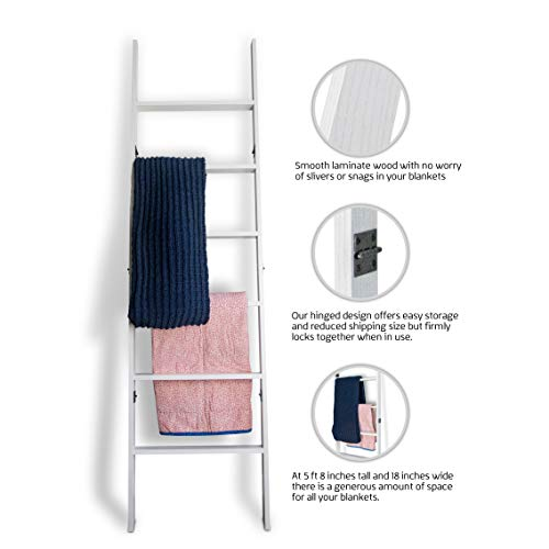 RELODECOR 6-Foot Wall Leaning Blanket Ladder| Laminate Snag Free Construction (White)