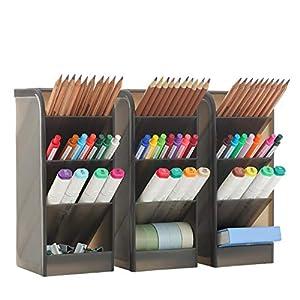 3 Pcs Big Desk Organizer- Pen Organizer Storage for Office, School, Home Supplies, Translucent White Pen Storage Holder, High Capacity, Set of 3, 12 Compartments (Black Big Pen Holder)
