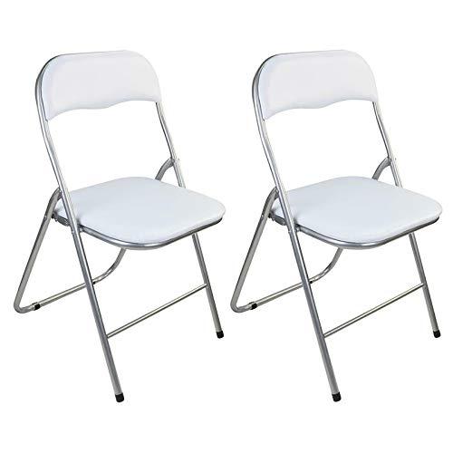 Guilty Gadgets - Juego de 2 sillas plegables acolchadas de metal plateado y PVC, apilables, para exteriores, picnic, jardín, color blanco
