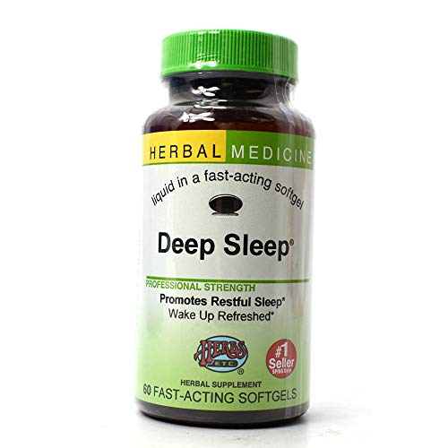 Deep Sleep - Natural Herbal Sleep Aid Supplement - Non-Habit Forming - All Natural Sleep Remedy Pills - 60 Softgels (Made with California Poppy, Valerian, Passionflower, Chamomile, Lemon Balm & More) - Herbs Etc