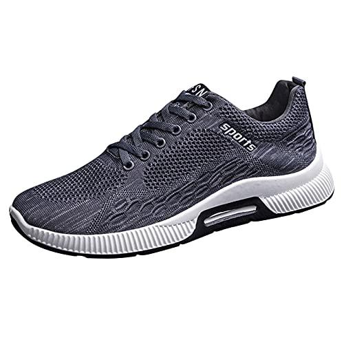DAIFINEY Herren Mesh Turnschuhe Verschleißfest Straßenlaufschuhe Sportschuhe Laufschuhe Joggingschuhe Walkingschuhe Fitness Schuhe(1-Grau/Gray,41) 97
