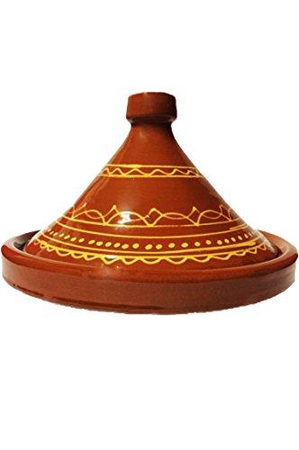 Marokkanische Tajine Topf zum Kochen | Schmortopf glasiert Ferhan Ø30cm 4-5 Personen | inklusive Rezept und Gebrauchsanweisung | ORIGINAL Tontopf handgetöpfert aus Marokko | Größe wählen
