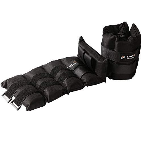 Par de pesas de tobillo de 10 kg por día 1 Fitness, juego de 2 con correas de velcro ajustables, transpirables, absorben la humedad para hombres y mujeres, cómodos tobillos, peso de muñeca