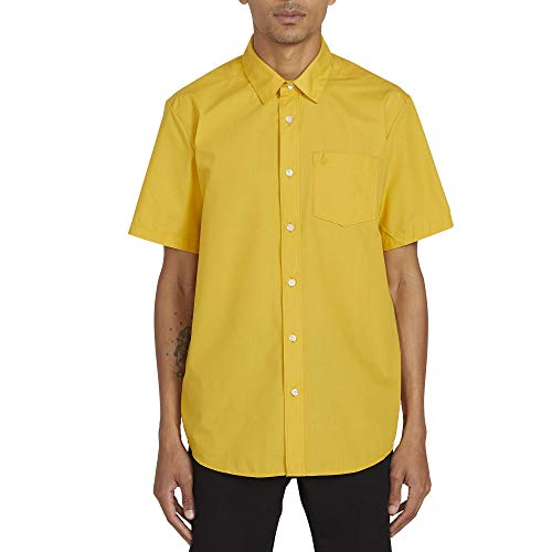 Volcom Herren CJ Collins S/S Woven Button Down Hemd, gelb, X-Klein