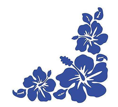 ハイビスカス Hibiscus 南国 花形 ハワイアン hawaii フラワー コーナー ステッカー シール (デカール) ブルー (右)