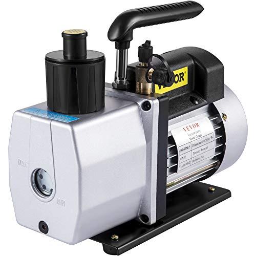 VEVOR Vacuum Pump 5CFM 1/2 HP Two Stage Air Conditioning Vacuum Pump 120V 0.3PA Ultimate Vacuum Refrigerant HVAC Air Tool Rotary Vane Vacuum Pump (2-Stage, 5CFM)