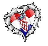 Herzförmiges Zerrissen Metall Kroatien Kroatien für Fußball Team Fan Match Auto Aufkleber 105x100mm
