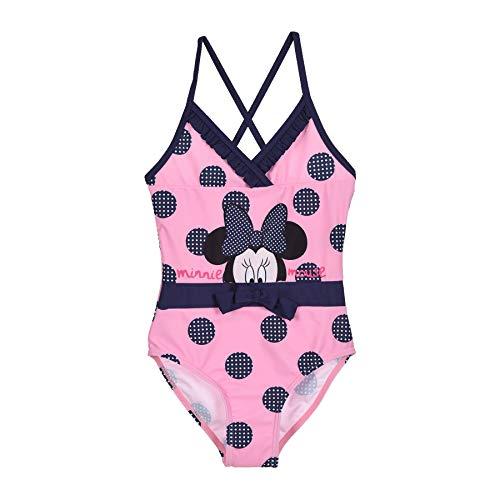 Minnie Mouse Badeanzug Mädchen Bikini Badempde Kinder Dunkelblau und Rosa mit Punkten Gr. 98 104 116 128 cm 3 4 5 6 7 8 9 10 Jahre (Rosa, 116)