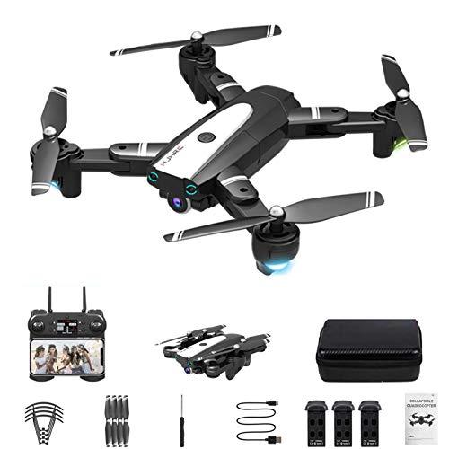 Drone xuelili HJ-68 com câmera 4K HD para adultos, quadricóptero dobrável com vídeo ao vivo FPV grande angular, trajetória, controle de aplicativos, fluxo óptico,drone para iniciantes,Preto