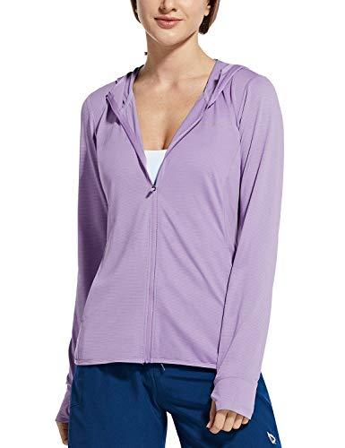 BALEAF Women's UV SPF UPF 50+ Long Sleeve Sun Shirts Zip Hoodie Jackets Quick Dry Athletic Outdoor Hiking Purple XXXL