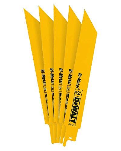 DEWALT Reciprocating Saw Blades, Straight Back, Bi-Metal, 6-Inch 24 TPI