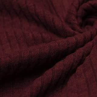 6x3 Brushed Poly Rayon Rib Knit Fabric by the Yard (Burgundy)