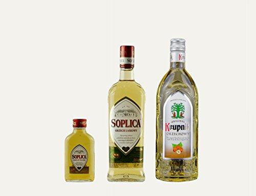 1x Soplica Haselnuss + 1x Krupnik Haselnuss + 1x kostenfrei Soplica Walnuss in der Probiergröße (32%, 0,1 Liter) | Polnischer Haselnusswodka/-likör | je 32%, 0,5 Liter