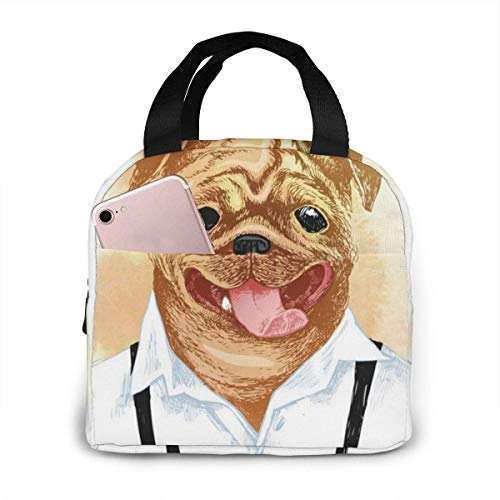 Pug disfrazado a mano en estilo Hipster (2) Bolsa de almuerzo aislada para hombres Bolsa de almuerzo porttil Bolsas de picnic Bolsa de artculos diversos o bolsas de compras