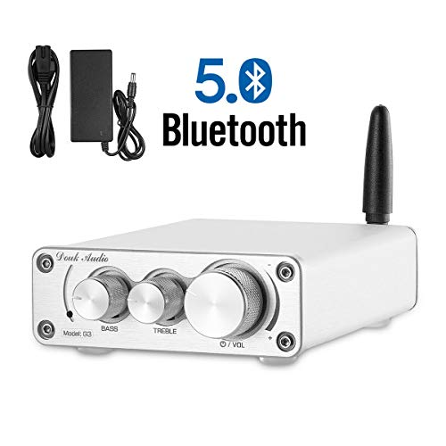 Nobsound G3 2 Channel Bluetooth 5.0 Power Amplifier 100W Class D Hi-Fi Stereo Audio Mini Amp Wireless Receiver Home Theater Treble Bass Control (Silver)