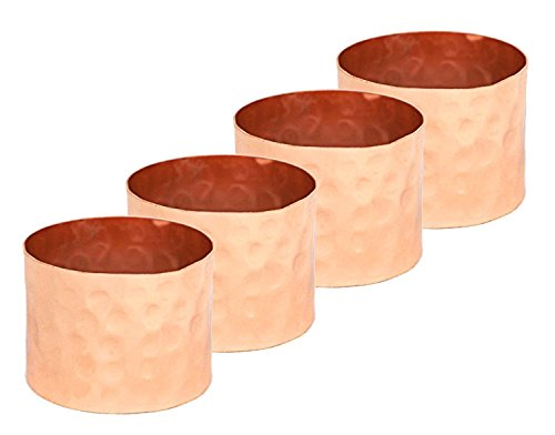 Alchemade Hammered Copper Napkin Rings (Set of 4)