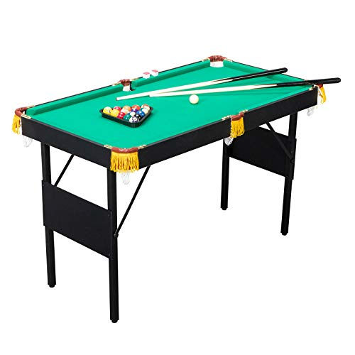 PEXMOR 47 Inches Foldable Mini Pool Table with 16 Balls, 2 Cues, Chalk, Brush and Triangle, Indoor Pool Game Table Set, Billiard Table for Boys and Girls