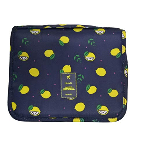 Hanging Toiletry Bag Travel Bag - Large Cosmetic Makeup Travel Toiletries Organizer for Men & Women with Sturdy Hook and Handle, Cosmetic Bag Travel Organizer for Accessories (Black Lemon)