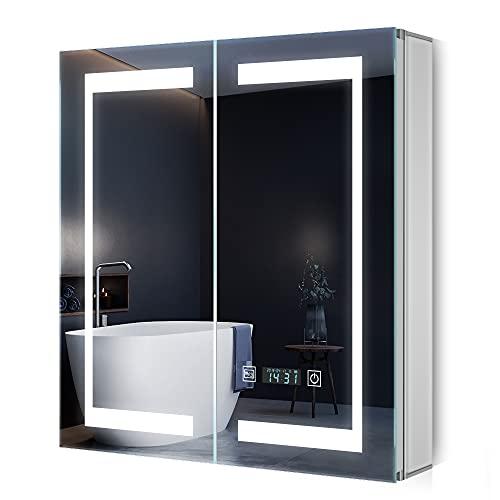 Quavikey LED Spiegelschrank 63x65cm Badezimmer Spiegelschrank mit LED Beleuchtung Aluminium Digital Uhr Rasier Steckdose Antibeschlag Touchchalter Helligkeit Dimmbar Soft-Close-Funktion