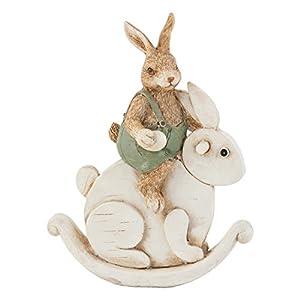Clayre & Eef 6PR0466 Deko Dekoration Figur Kaninchen Osterhase Hase Auf Hase Sitzend Ca. 16 cm