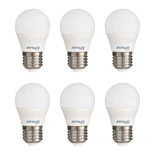 SIGMALED LIGHTING PACK 6 LAMPADINE LED E27 LUCE NATURALE, 6W (=45W), 550 lumen. Lampadina piccola MINI GLOBO G45 con luce bianca naturale 4000K, Classe di efficienza energetica A+, Dimensioni 45x78mm