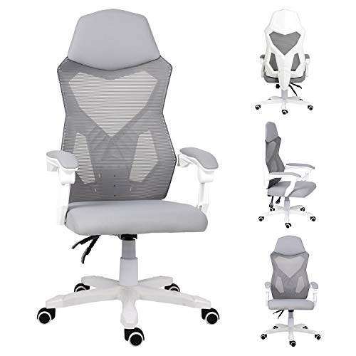 Ergonomic Office Chair for Home,High-Back Reclining Computer Mesh Chair with Arms and Headrest Swivel PC Gaming chair Desk Chair for Bedroom(Grey)
