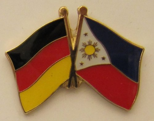 Philippinen / Deutschland Fre&schafts Pin Anstecker Flagge Fahne Nationalflagge Doppelpin Flaggenpin Badge Button Flaggen Clip Anstecknadel