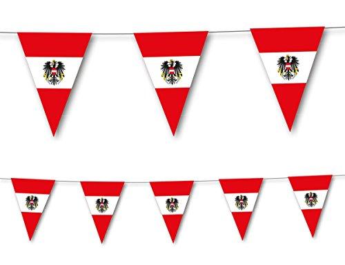3,5m Wimpelkette * ÖSTERREICH * als Deko für Länderparty von DH-Konzept // Mottoparty Banner Girlande Partykette
