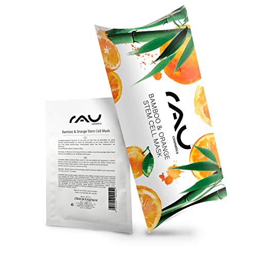 Vegane Feuchtigkeits Tuchmaske mit Bambus-Extrakt, Grünem Tee, Hyaluronsäure, Aloe Vera - RAU Bamboo & Orange Stem Cell Mask 10er Packung