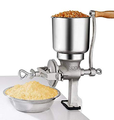 Tall Cast Manual Iron Mill Grinder Hand Crank Grains Oats Corn Wheat Coffee Nuts