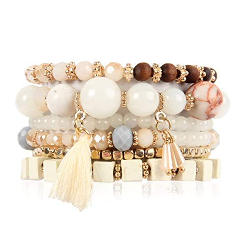 RIAH FASHION Multi Layer Versatile Statement Bracelets - Stackable Beaded Strand Stretch Bangles Sparkly Crystal, Wood Bead, Tassel Charm (Cubic Wood & Tassel - Natural)