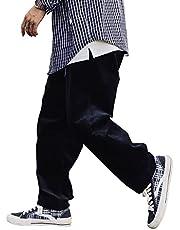 YACORESYA メンズ コーデュロイパンツ クライミングパンツ テーパード 無地 ベルト付き ロングパンツ 暖かい あったか ワイド バルーンパンツ コットン 綿 ワーク アメカジ ストリート系 秋冬