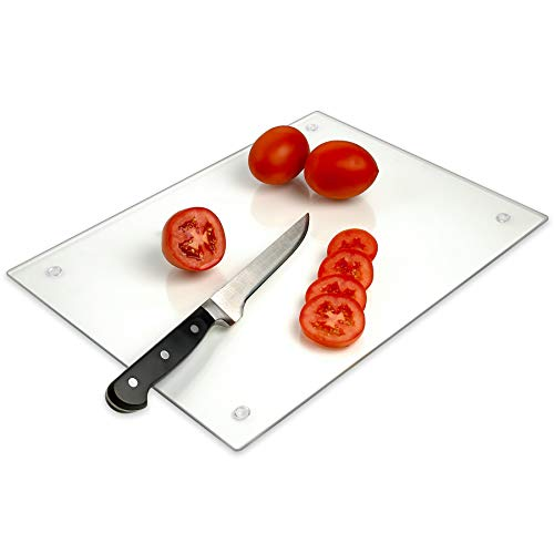 "Tempered Glass Cutting Board – Long Lasting Clear Glass – Scratch Resistant, Heat Resistant, Shatter Resistant, Dishwasher Safe. (Large 12x16"")"