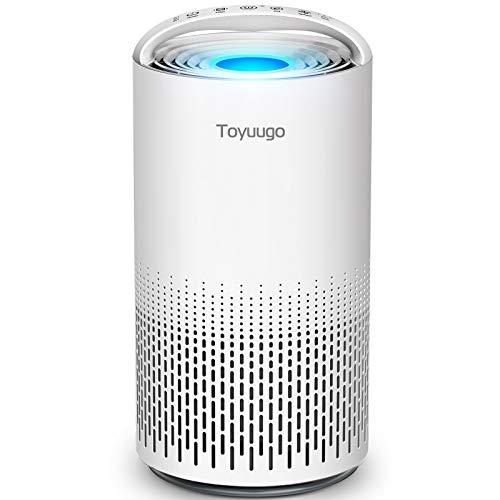 toyuugo Luftreiniger HEPA-Kombifilter Aktivkohlefilter 99.97% Starke Leistung CADR 220m³/H Raumluftreiniger mit Luftqualitätssensor, 3 Timer, 3 Geschwindigkeiten, Auto- und Schlafmodus Air Purifier